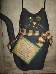 Primitive Barn Cat of Black Homespun - Rustic Sweet Folk Art Ornie OFG HAFAIR Teams by Hilltophomesteader on Etsy https://www.etsy.com/listing/234394117/primitive-barn-cat-of-black-homespun