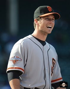 Buster Posey laughin' it up 10-7