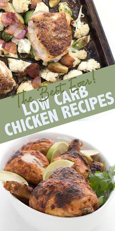 50 of the best low carb chicken recipes the internet has to offer. Inexpensive and delicious, chicken is perfect for keto meal planning! Low Carb Chicken Thigh Recipe, Low Carb Chicken Recipes, Chicken Thigh Recipes, Low Carb Dinner Recipes, Keto Chicken, Ketogenic Salads, Ketogenic Recipes, Paleo Recipes, Turkey Recipes
