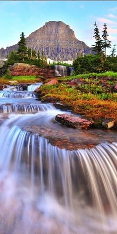 Mt. Reynolds and cascading falls at Logan Pass in Glacier National Park ~ Montana • photo: Bernard Chen on 500px