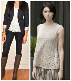 We love everyday style for a casual work look: A fitted blazer can really give a simple outfit a professional flair. Roll up the sleeves and pair over a lace top to soften the outfit. Pattern (right) is the NEW Lafayette Tunic in S. Charles' AUDRA. (Inspiration photo, left, from jamyearnest.cabionline.com.)