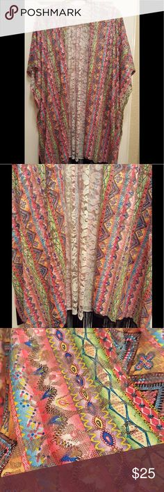 """Multi Color Kimono 💐NWT 💐Beautiful Multi Color Kimono. Shades of red, pink, blue, yellow and more. Measures 40""""L. Standard armholes. NWT Accessories Scarves & Wraps"""