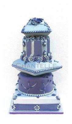 Chantelle Blue & Purple Cake with unique shapes Gorgeous Cakes, Pretty Cakes, Amazing Cakes, Pillow Cakes, Gateaux Cake, Wedding Cakes With Cupcakes, Dream Cake, Specialty Cakes, Elegant Cakes
