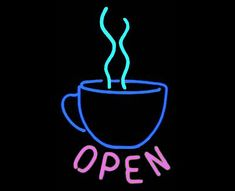 Coffee 'OPEN' Real Neon Sign for Window or Wall. Great for Home or Business Java Neon Light Neon Art by BillieBoi on Etsy