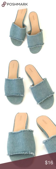 Forever 21 Chambray Slide Sandals Chambray slip on slides, only worn once.  Excellent condition. Forever 21 Shoes Sandals