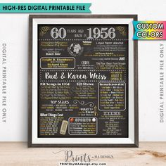 60th Anniversary 1956 Poster Sign, 60 Years Ago Married in 1956 Anniversary 60th Anniversary Gift Chalkboard Style Digital Printable File