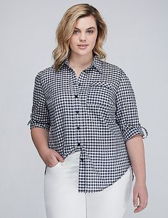 The Gingham Boyfriend Shirt - LANE BRYANT