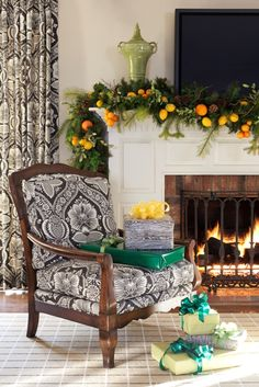 Love the fabric on the chair. Tobi Fairley Holiday - traditional - living room - little rock - Tobi Fairley Interior Design Christmas Mantels, Christmas Holidays, Christmas Decorations, Christmas Ideas, Merry Christmas, Happy Holidays, Christmas Fireplace, Holiday Ideas, Beach Christmas