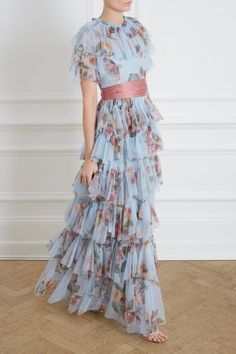Venetian Rose Tulle Gown in Dusk Blue from the Needle & Thread Collection Fancy Dress Design, Frock Design, Long Gown Dress, Dress Skirt, Vestidos Vintage, Vintage Dresses, Couture Dresses, Fashion Dresses, Pretty Dresses