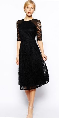 Modest below the knee trendy stylish black lace dress | Mode-sty tznius. I want this dress in Black and in Purple for my bridesmaids to wear.