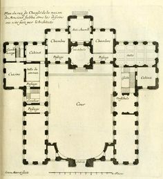 Marot's design for the 'House of Monsieur Jabba', Paris, ground floor plan Architecture Mapping, English Architecture, Baroque Architecture, Architecture Drawings, Architecture Plan, Classical Architecture, Ancient Architecture, Empire Design, Architectural Floor Plans