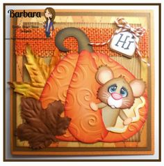 """Peeking Pumpkin Mouse Greeting Card. """"Hi"""", created by PAPER PIECING MEMORIES BY BABS. Pattern by Little Scraps of Heaven Designs and sentiment by Craftin Desert Divas."""