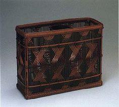 Flower basket with linear and lozenge pattern.   HAYAKAWA Shokosai