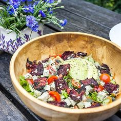 Jeez it's hot again! we enjoyed our dinner outside last evening once it cooled down a bit. What else is there to eat other than fresh crisp salads? topped this one with beet chips basil tofu sunflower seeds avocado cucubmer carrots tomatoes and spring onion. dressing was made of lots of fresh basil leaves    #vegan #food #salad # summer #heat #dinner #vegancouple #healthy #fitfood #vitamins #veganfood #vegangirl