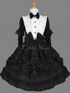 Estilo ocidental mangas compridas puro algodão Lolita uma peça - Lolitashow.com