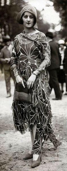 French fashion, 1929   (by janwillemsen, via Flickr) 20s 30s vintage fashion style found photo street print floral novelty graphic print dress flutter hat shoes purse