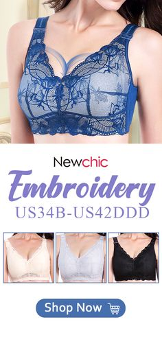 027c2645af  US  25.73 Wireless Embroidery Breathable Gather Cotton Lining Thin Full  Busty Bra
