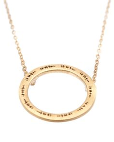 """Shoot For The Moon - This Open Circle Yellow Gold Necklace is engraved with the Soundwave: """"Shoot for the moon, even if you miss you will land amongst the Stars"""". 22kt Yellow gold plating"""