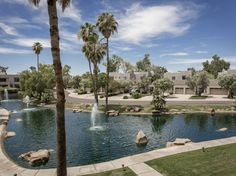 Peaceful location overlooking the Sunset Cove lagoon and fountains in Gainey Ranch.