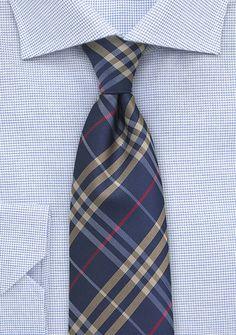 Navy and Gold Tartan Plaid Tie in XL
