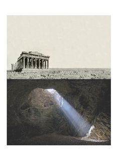 dark side of Parthenon - Architecture Collage Architecture, Architecture Drawings, Architecture Portfolio, Landscape Architecture, Architecture Design, Architecture Illustrations, Classical Architecture, Level Design, Architectural Section