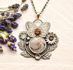 Butterfly Necklace Fossil Necklace Druzy Necklace Unique