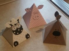 adorable pyramid gift boxes .. Stampin' Up ... Pyramid Pals .. pieces from stamp set used to make farm animal faces ...
