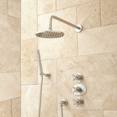 Callas Thermostatic Shower System with Rainfall Shower and Hand Shower - Brushed Nickel