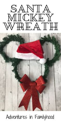 Easy and affordable DIY Santa Mickey Wreath. Only 5 dollars to make using dollar store materials. Disney Christmas Crafts, Disney Christmas Decorations, Mickey Mouse Christmas, Dollar Store Christmas, Christmas Projects, Disney Crafts, Valentines Day Decorations, Christmas Diy, Christmas Wreaths