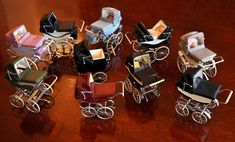 Prams on parade! Barbie Dolls Diy, Red Dolls, Tiny Dolls, Vintage Pram, Vintage Dolls, Miniature Crafts, Miniature Dolls, Toy Kitchen Accessories, Prams And Pushchairs