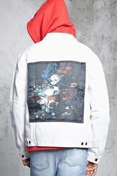 66fe6accc Floral Print Patch Denim Jacket | Forever21 Forever 21 Men, Denim Jacket  Patches, Front