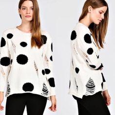 SHANIE polka dot cutout sweater - CREAM 100% acrylic. Super soft. NO TRADE, PRICE FIRM Bellanblue Sweaters