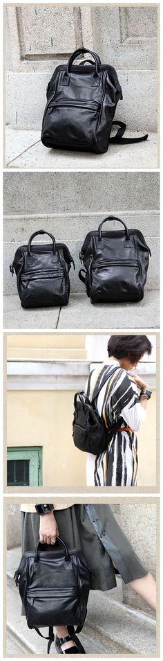 Handmade Black Top Grain Leather Travel Backpack School Backpack Unisex Rucksack Laptop Bag AK20