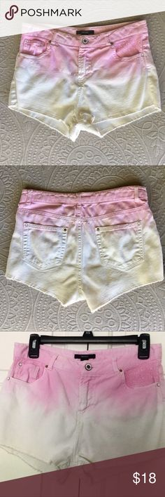 Pink and White Ombré Shorts SUPER cute shorts from forever 21 with faded ombre and textured pockets. Fits on hip or just above roughly size 2 in misses. Great condition. Bundle with dark wash denim shorts for a great deal. Forever 21 Shorts Jean Shorts