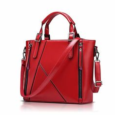 Mulheres Bolsas Couro de Gado Tote Ziper para Casual Todas as Estações Azul  Preto Vermelho Bolsas 546c6f217a