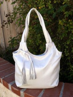 White tote leather purse bright pearl white fringe shoulder bag medium fashion preppy handbag handmade handbags and purses bony2