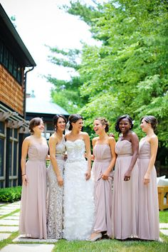 I like the idea of making the Maid of Honor stand out. In particular, the matched tones of this dress to the other bridesmaids' dresses and the subtle textural details picked from the bride's dress really complete the package.