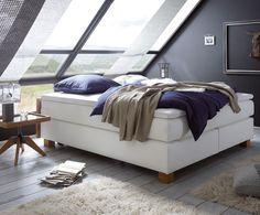 Boxspringbett Classic Board Back | Ohne Kopfteil Eignet Sich Dieses  Komfortable Bett In Edlem Weiß