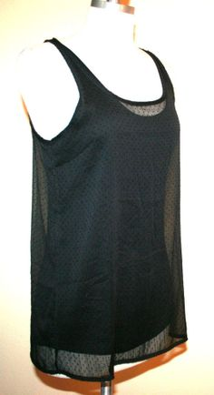 MNG by Mango Black Sleeveless Sheer Dotted Top w/ Attached Black Tank