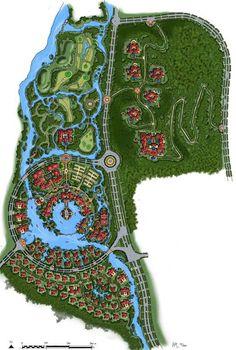 Shenyang Qipanshan Luxury Resort on Behance Landscape Design Plans, Landscape Architecture Design, Futuristic Architecture, City Skylines Game, Resort Plan, City Layout, Urban Design Plan, Tourism Development, Chinese Design