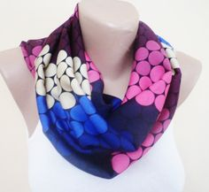 circular scarf polka dot scarf colorful scarf by FloweredMom // etsy