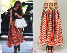 Selena Gomez was spotted on her way to the hair salon today and looked fun and festive in this Free People Maracana Silk Skirt. You can find this skirt on Free People's website for $358.  Buy it HERE  She's also wearing Free People sunglasses, Free People boots and carrying Dolce & Gabbana bag