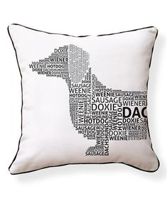 Look what I found on #zulily! Black Typography Dachshund Reversible Throw Pillow #zulilyfinds