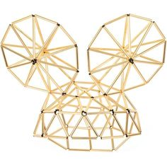 WXYZ Mega Mouse Ears gold-toned hat ($675) ❤ liked on Polyvore featuring accessories, hats, gold, gold hats and mouse hat