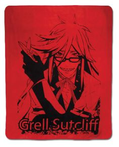 Black Butler Throw Blanket: Grell in Red (50 x 60 in)