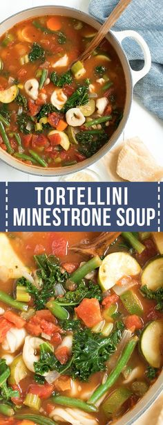 Easy Tortellini Minestrone Soup includes fresh vegetables, kale or spinach, cheese tortellini and delicious flavor! This vegetarian tortellini soup cooks in one pot to make prep and clean up easy. Tortellini Recipes, Cheese Tortellini, Pasta Recipes, Soup Recipes, Chicken Recipes, Cooking Recipes, Healthy Recipes, Zoodle Recipes, Healthy Soups
