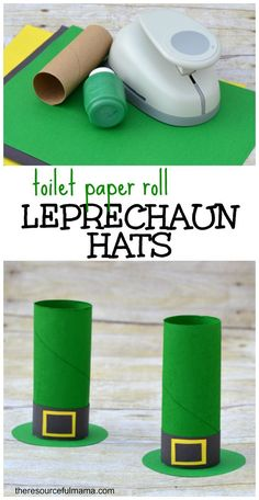 St. Patrick's Day toilet paper roll leprechaun hat craft for kids Perfect for my preschool and kindergarten students!
