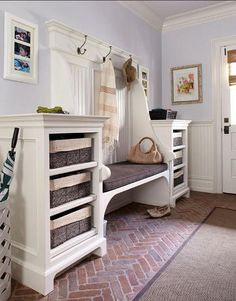 colorful mudrooms - Suburban New York mudroom with brick pavers, a built in bench and walls similar to Benjamin Moore's Lavender Mist 2070-60 - DeGraw and DeHaan via Atticmag