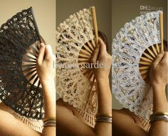 Wholesale black/white/ivory wedding full batten Lolita victorian LACE FAN Hand Fans SPANISH LADY, Free shipping, $3.49-4.8/Piece   DHgate Have bridesmaids carry fans instead of flowers for a summer outdoor wedding! Functional and beautiful!