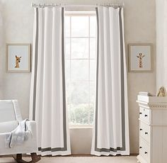 appliquéd frame cotton canvas drapery. a classic, tailored touch for the nursery. #rhbabyandchild